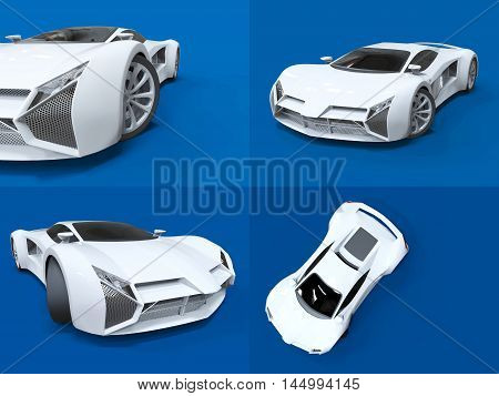 Set conceptual high-speed white sports car. Blue uniform background. Glare and softer shadows. 3d rendering