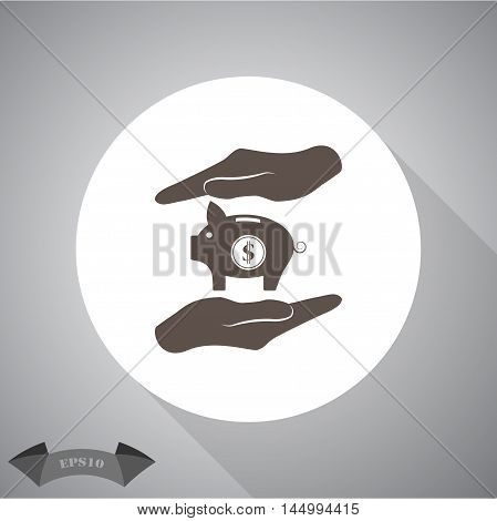 Two hands protecting dollar piggy bank vector icon