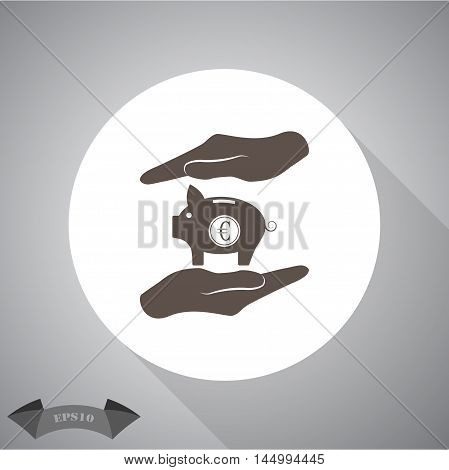 Two hands protecting euro piggy bank vector icon