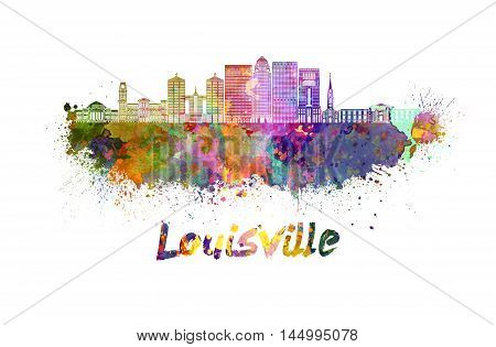 Louisville skyline in watercolor splatters with clipping path