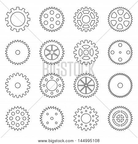 Set of outlines of gear wheels, vector illustration