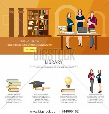 Library interior with people reading book infographic librarian elements vector illustration