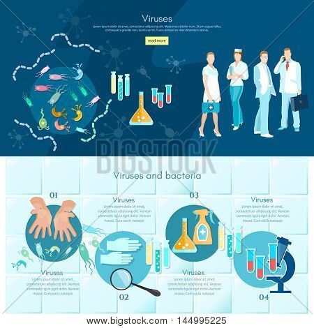 Microbiology infographics medical analysis medical research scientists test tube and microscope making research clinical laboratory vector