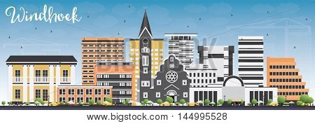 Windhoek Skyline with Color Buildings and Blue Sky. Vector Illustration. Business Travel and Tourism Concept with Modern Buildings. Image for Presentation Banner Placard and Web Site.