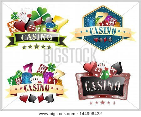 Set of casino vector illustration with gambling elements ornate frame card symbols and dice.