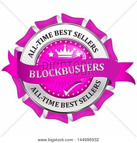 Blockbusters - metallic pink business glossy icon / label.