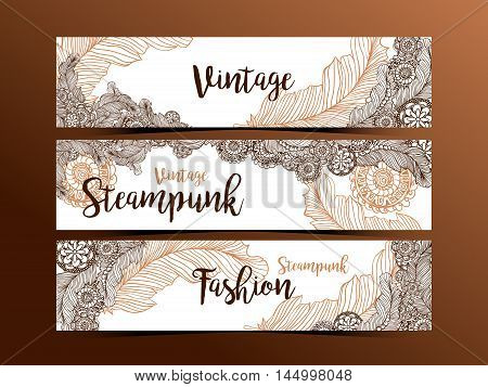 Hand drawn steampunk technology element with gear-wheel and feathers. Artistic design for flyer, banner, websites, headers or printing. Dark background