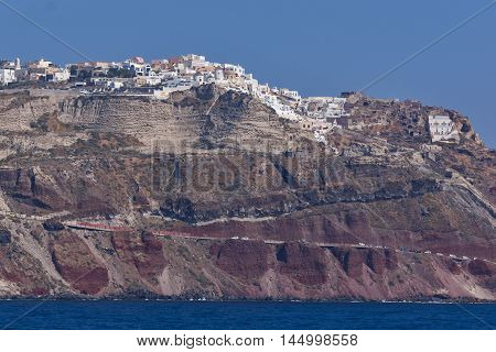 Panoramic view  to Oia town from the sea, Santorini island, Cyclades, Greece