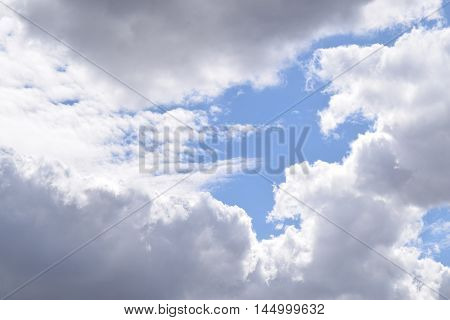 skyscape background showing bright blue sky and scattered fluffy white clouds