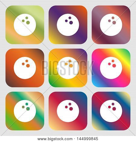Bowling Game, Ball Icon . Nine Buttons With Bright Gradients For Beautiful Design. Vector