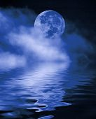 image of full_moon  - full moon at night with water reflection - JPG