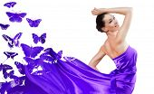 picture of beautiful young woman  - beautiful young woman in purple long dress - JPG