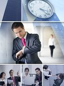 stock photo of short-story  - Business collage made of some pictures showing a short story about business dating - JPG