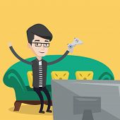 Happy gamer playing video game. An excited young man with console in hands playing video game at hom poster