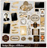 Vintage Elements Collection - PhotoFrames, Adhesive Straps, Vintage Labels, Complete Backgrounds, Ri