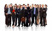stock photo of crew cut  - business team formed of young businessmen standing over a white background - JPG