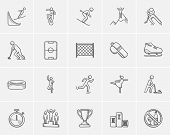 Winter sport sketch icon set for web, mobile and infographics. Hand drawn winter sport icon set. Win poster
