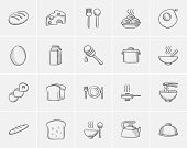 Постер, плакат: Food and drink sketch icon set for web mobile and infographics Hand drawn food and drink icon set