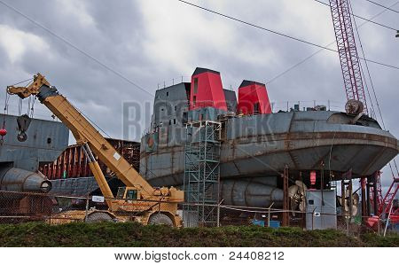 Shipping Industrial With Cranes