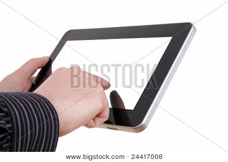 tablet with hand