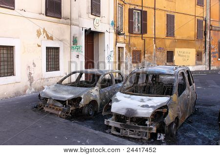 Devastation Of Cars In Rome