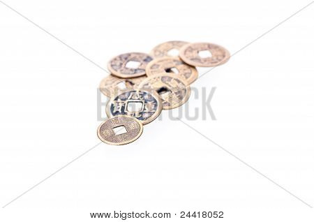 A Pile Of Old Chinese Coins