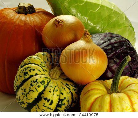 Pumpkins And Fresh Vegetables