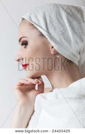 Portrait of a beautiful young girl in profile