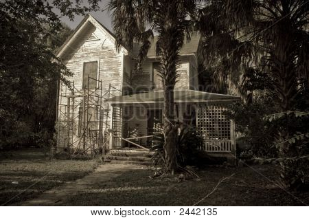 Grainy Sepia Old Country House