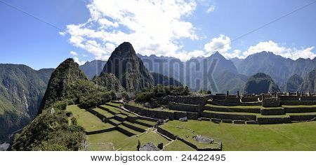 Terraces Of Machu Pichu With Huayna Picchu
