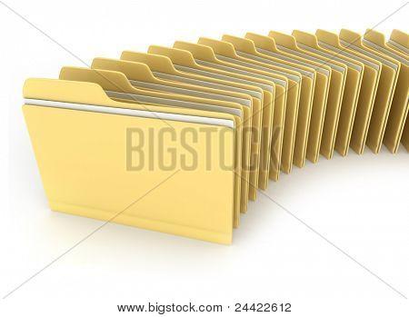 3D Illustration of Folders Arranged Neatly