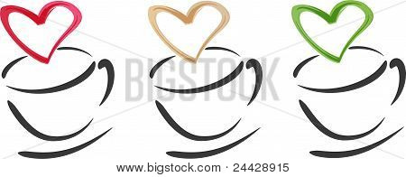 Coffee Cups Hearts