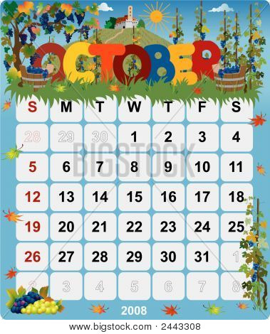 Monthly Wall Calendar October 2008 - Version 2