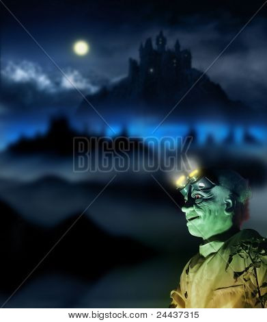 Halloween image of a mad scientist with glowing glasses and a spooky night background with full moon