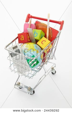 Trolley full of items for school