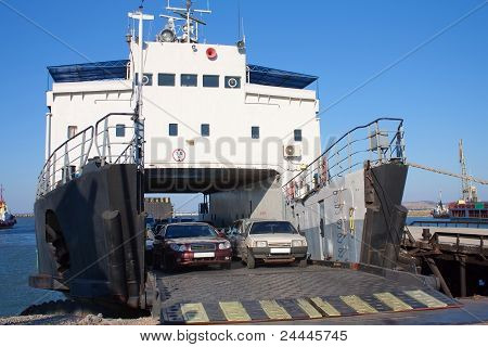 Ferryboat With Cars In Harbor