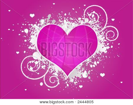 Pink Abstract Grunge Heart Design