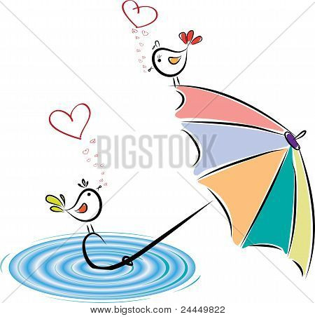 Birds In Love After Rain. Vector Illustration
