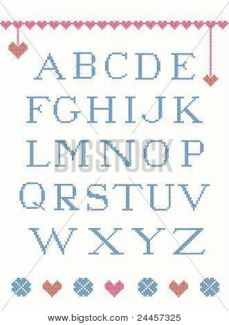Cross stitch alphabet.