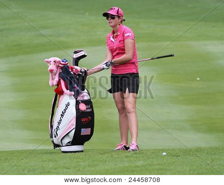 KUALA LUMPUR, MALAYSIA - OCTOBER 16: Paula Creamer of the USA prepares to play at the fairway of hole #18 during the Sime Darby LPGA 2011 golf tournament on Oct 16, 2011 in Kuala Lumpur, Malaysia.