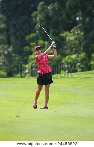 KUALA LUMPUR, MALAYSIA - OCTOBER 16: Paula Creamer of the USA watches her shot to hole #9 on day 4 of the Sime Darby LPGA Malaysia 2011 golf tournament on Oct 16, 2011 in Kuala Lumpur, Malaysia.