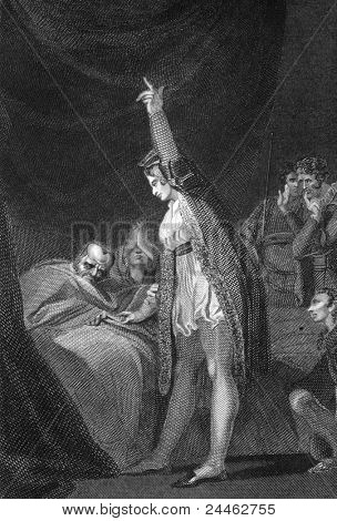 Death of Cardinal Beaufort. Engraved by J.Rogers and published in England's Battles by Sea and Land, United Kingdom, 1857.