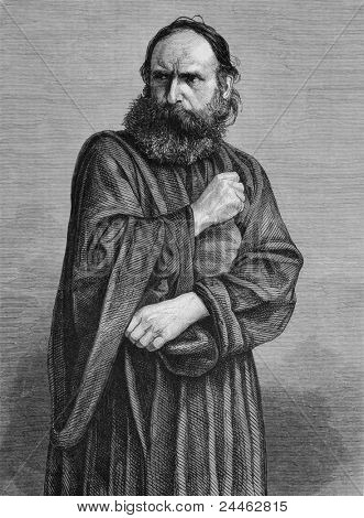 Judas perfomed by George Lechner in the Oberammergau Passion Play. Engraved by anonymous engraver and published in The Graphic newspaper, United Kingdom, 1870.