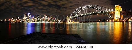 Sydney skyline and bridge at night