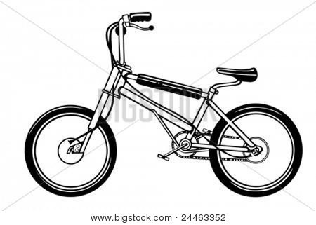 black bicycle on white background