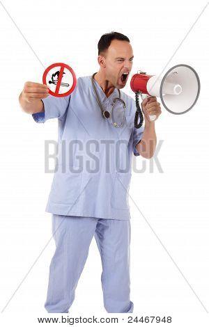 Caucasian Man Doctor No Fire Sign