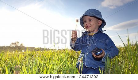 Little Boy On Meadow