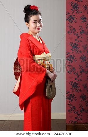 Japan Traditional Kimono On Pretty Asian Woman