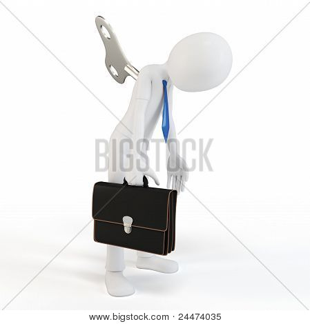 3D Man Windup Businessman