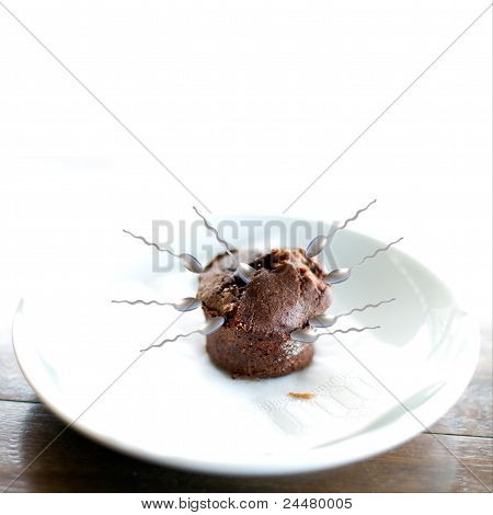 Chocolate Muffin Attacked By Spoons